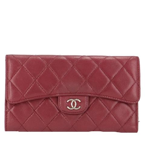 Purple Lambskin Flap Wallet