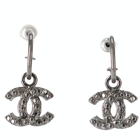 Silver-Toned 'CC' Rhinestone Earrings