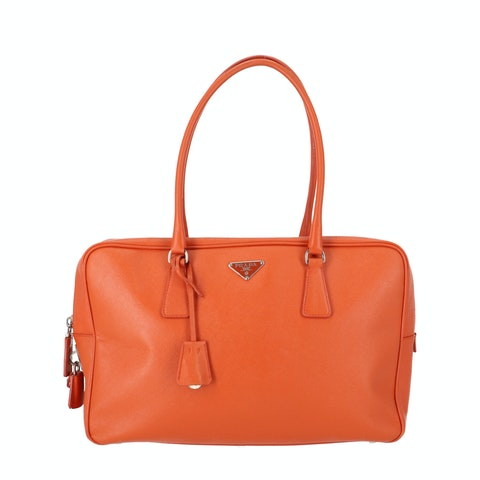 Orange Saffiano Leather Shoulder Bag