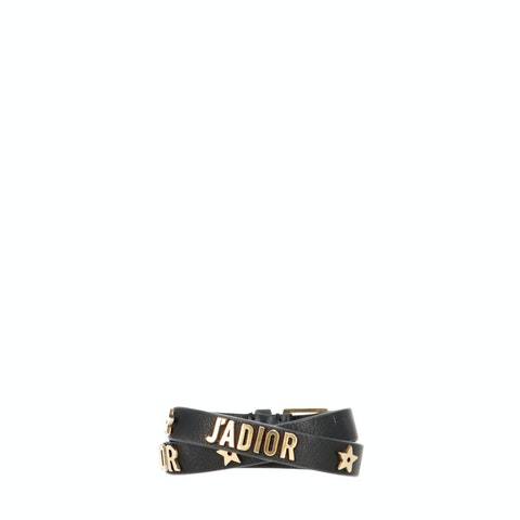 Black Leather J'ADIOR Double Wrap Bracelet