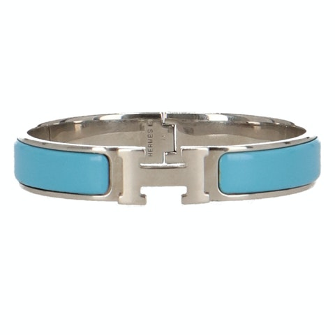 Blue Printed Enamel and Silver-Toned Bracelet