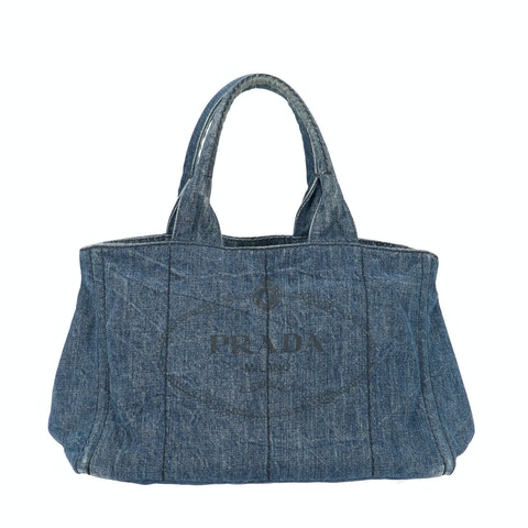 Prada Blue Wash Printed Denim Tote