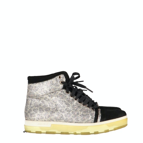 Metallic Suede High-Top Sneakers