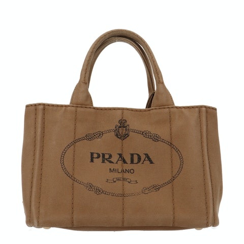 Brown Printed Canvas Tote