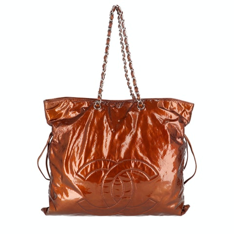Brown Patent Leather Tote