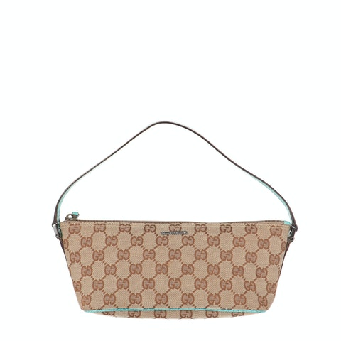 Brown Diamante Canvas Boat Pochette