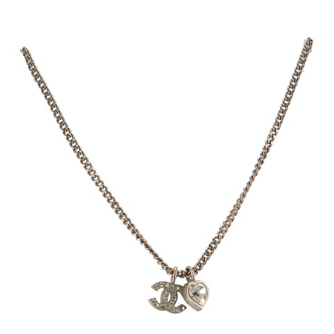 Silver-Toned Small 'CC' Rhinestone Necklace