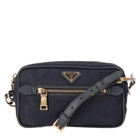 Navy Nylon Crossbody Bag