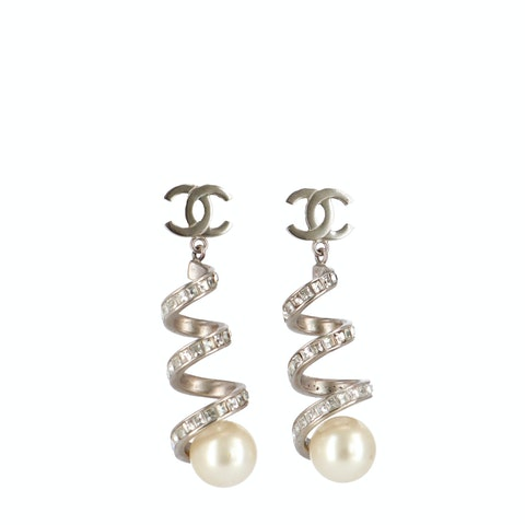 Silver-Toned 'CC' Pearl Earrings