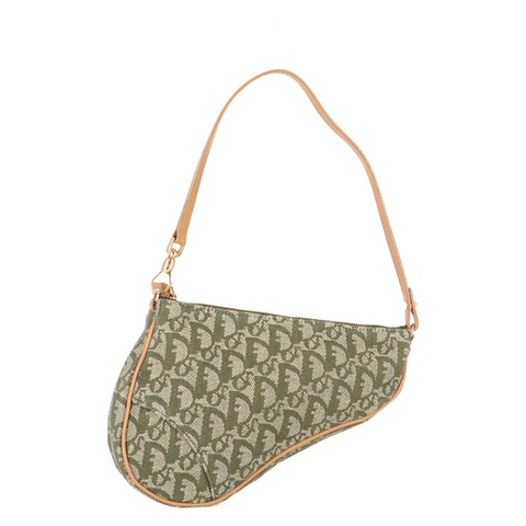 Green Jacquard Canvas Saddle