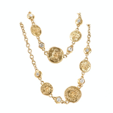 Gold-Toned 'CC' Beveled Necklace