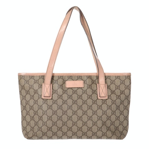 Brown Diamante Coated Canvas Tote