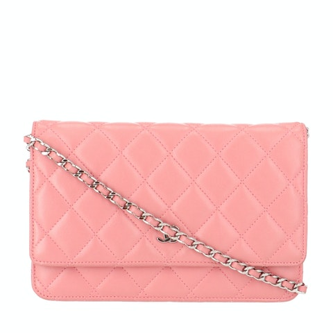 Pink Lambskin Wallet on Chain