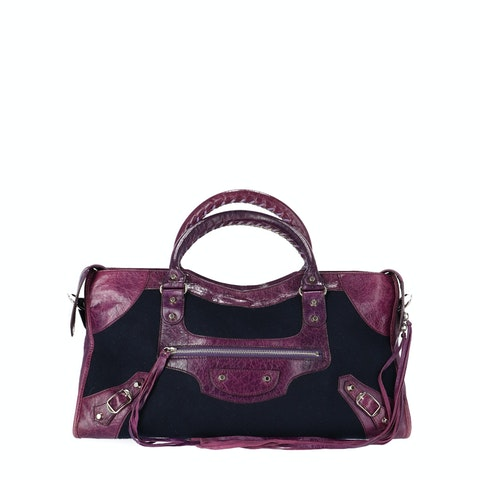 Balenciaga Purple Lambskin and Felt Part Time