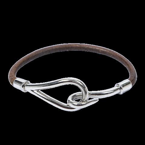 Jumbo Hook Bracelet  in Brown Calf Leather
