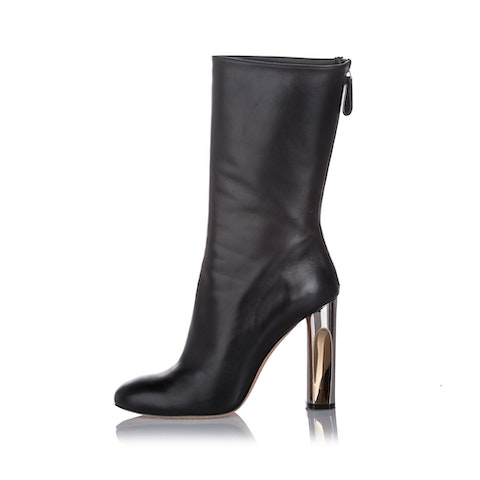 Sculpted Heel Leather Boot