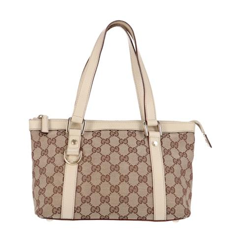 Brown Diamante Canvas Handbag
