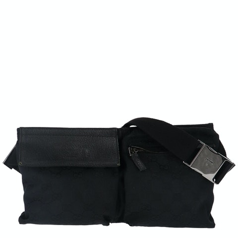 Gucci Black Diamante Canvas Belt Bag