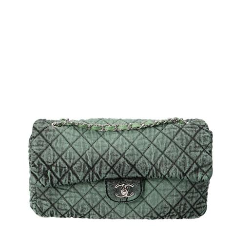 Chanel Green Jumbo Denim Classic Single Flap Bag