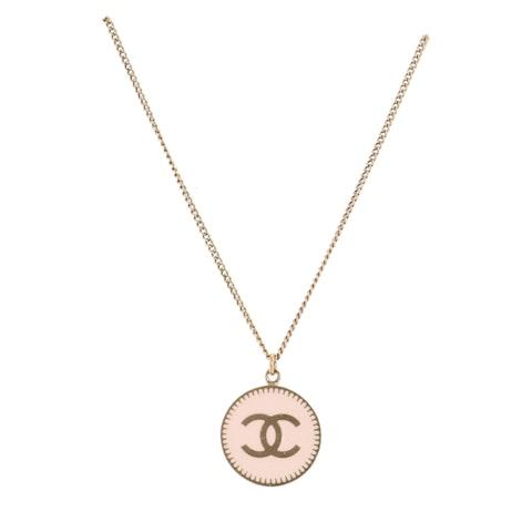 Gold 'CC' Pendant Necklace