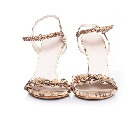 Gucci, Neutral colored python sandal.