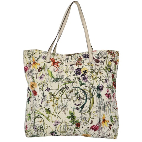 Gucci White Flora Print Canvas Shopper