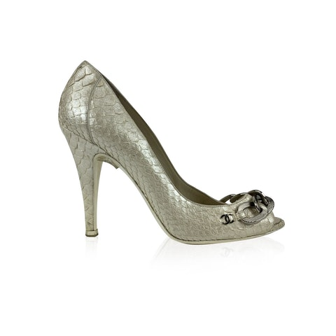 Chanel Leather Chain Link Open Toe Pumps