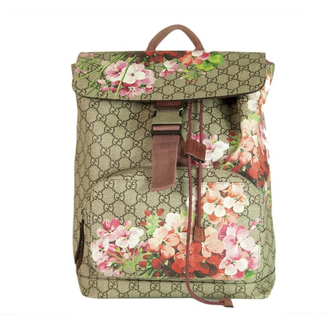 GUCCI Beige/Rose GG Monogram Coated Canvas GG Blooms Backpack Limited edition