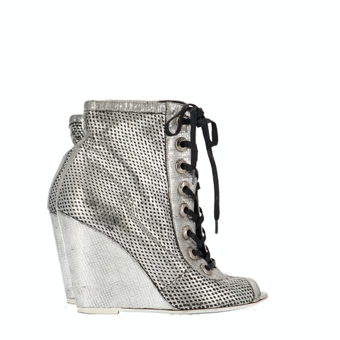 Metallic Leather Open Toe Ankle Boots