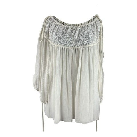 Chloe White Silk Oversized Lace Blouse Top Size 36 FR