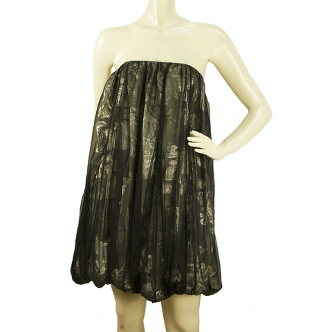 Dark Silver Metallic Bubble Hem Skirt or Strapless Dress