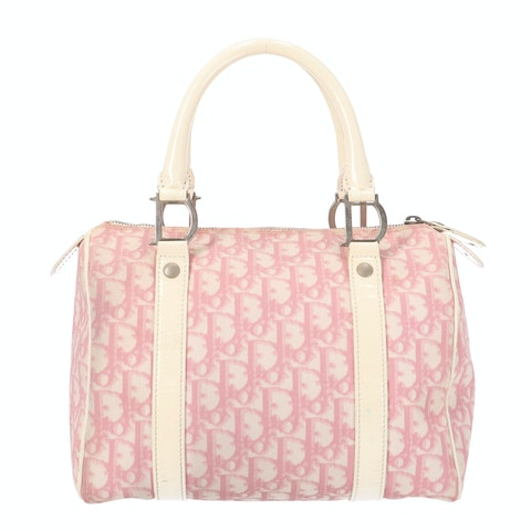 Dior Pink Coated Canvas Bowling Bag