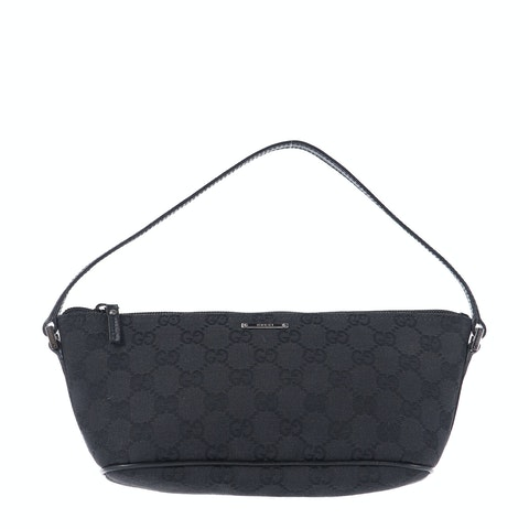 Black Diamante Canvas Boat Pochette