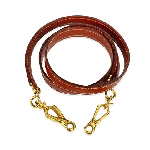 Hermes Vintage Brown Smooth Leather Shoulder Strap for Kelly Bag