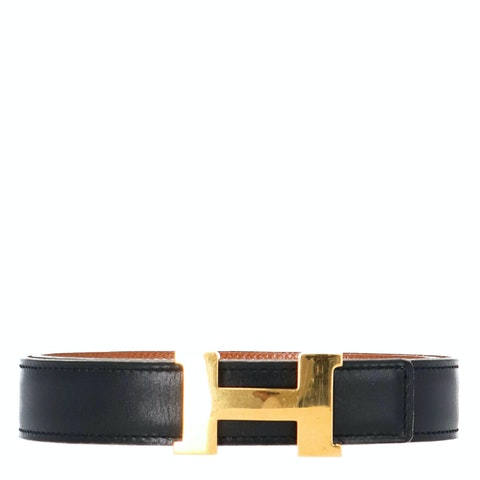 Hermes Black Reversible Leather Strap and Permabrass-Plated Constance Belt