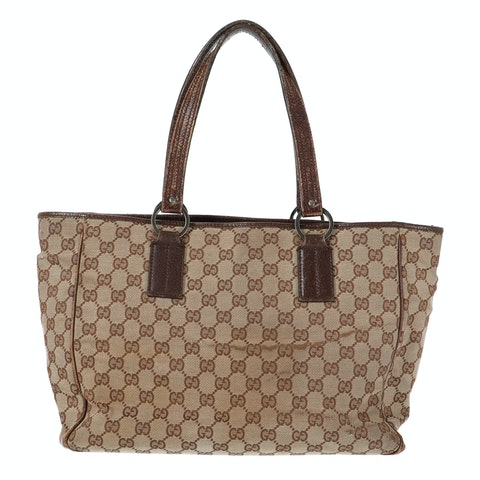 Brown Diamante Coated Canvas Shopper