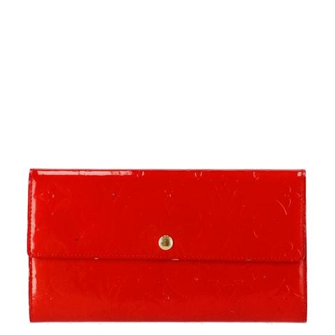Red Monogram Vernis Sarah Wallet