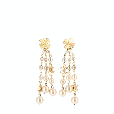 Gold-Toned 'CC' Dangle Earrings