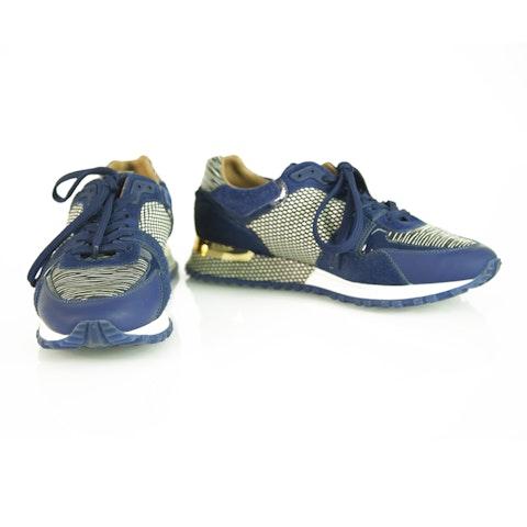 Run Away Blue Epi Calfskin Textile Sneakers with calf skin fur