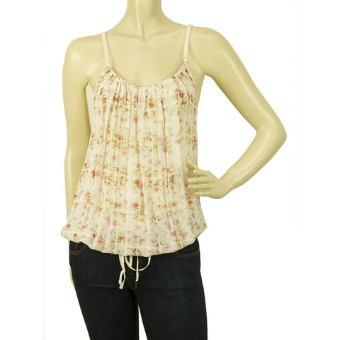 Floral Pink Green Adjustable Straps Vest Tunic