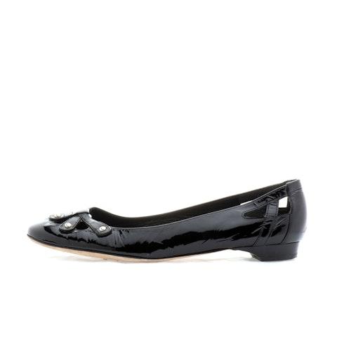 Black Leather Ballerina