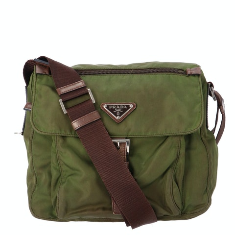 Green Nylon Small Messenger