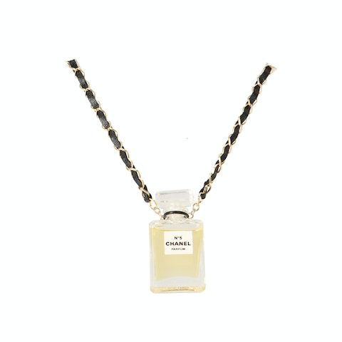 Gold-Toned Perfume Bottle Charm Necklace