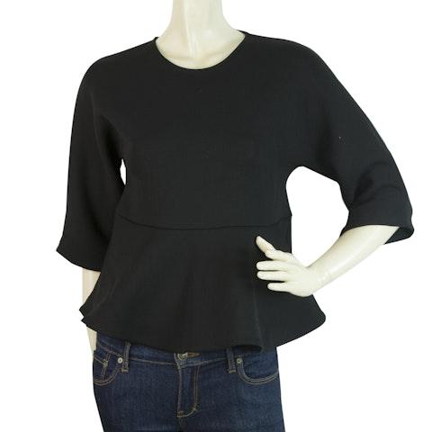 Black Ruffled Top Blouse 3/4 Sleeves Back Zipper