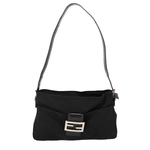 Black Felt Shoulder Bag