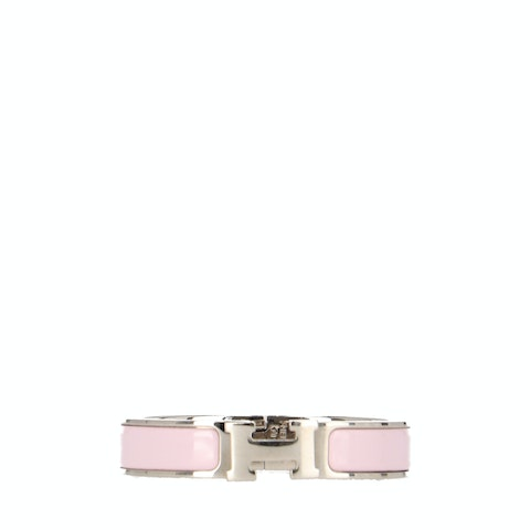 Pink Enamel and Silver-Toned Clic Clac H Bracelet