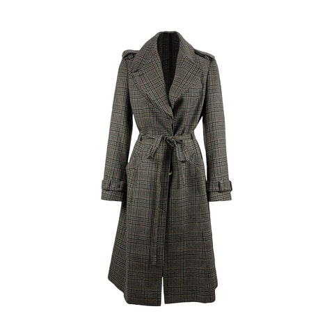 Adele Fado Grey Prince of Wales Belted Wool Coat Size 42 IT