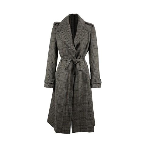 Adele Fado Grey Prince of Wales Belted Wool Coat Size 42 IT