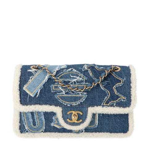 Blue Denim and Shearling Medium Classic Single Flap Bag