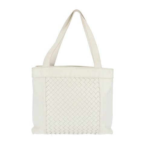 White Small Intrecciato Shoulder Bag